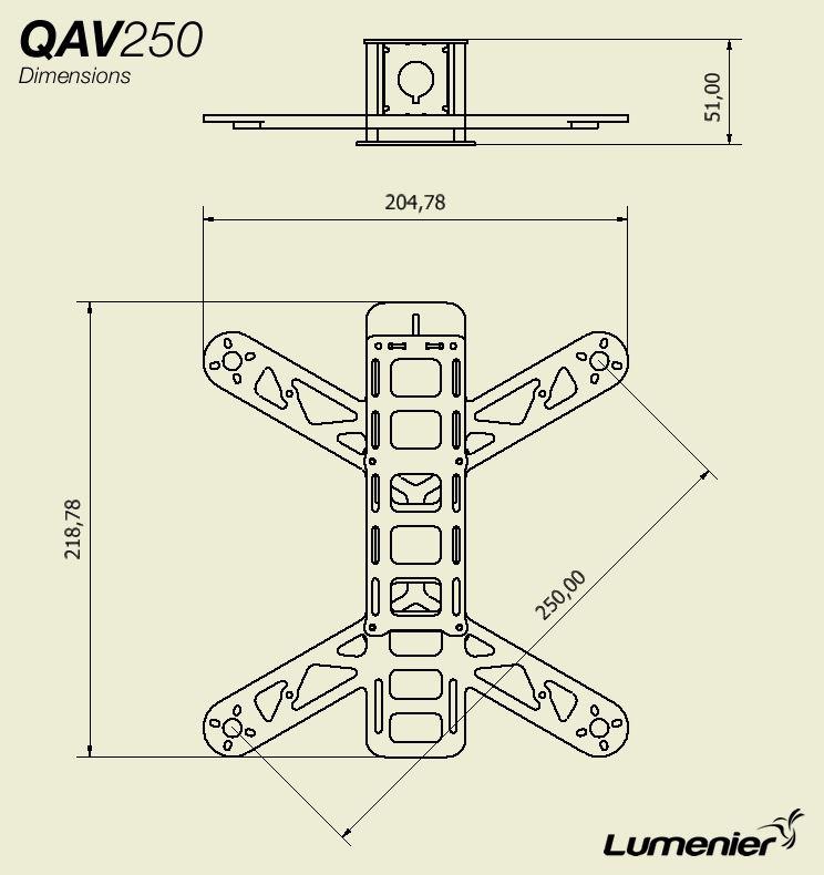 Chassis Qav250 V2 G10 Mini Fpv Lumenier Lum Qav250v2